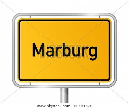 City limit sign MARBURG against white background - Hesse, Hessen, Germany