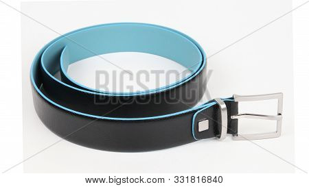 New Black Blue Leather Belt With A Nickel Buckle. Isolated On White Background