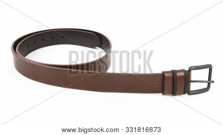 New Light Dark Brown Leather Belt With A Nickel Buckle. Isolated On White Background