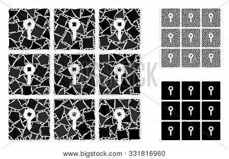 Lockers Mosaic Of Unequal Elements In Various Sizes And Shades, Based On Lockers Icon. Vector Unequa