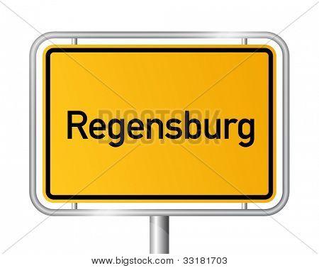 City limit sign REGENSBURG against white background - Bavaria, Bayern, Germany