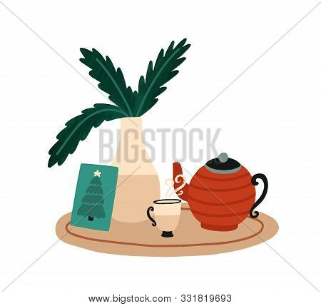Christmas Breakfast And Tea Vector Illustration. Winter Holidays Items. New Year Decorative Serving