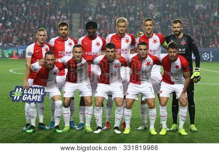 Prague, Czechia - October 23, 2019: Slavia Praha Players Pose For A Group Photo Before Uefa Champion