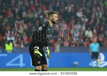 Prague, Czechia - October 23, 2019: Goalkeeper Ondrej Kolar Of Slavia Praha In Action During The Uef