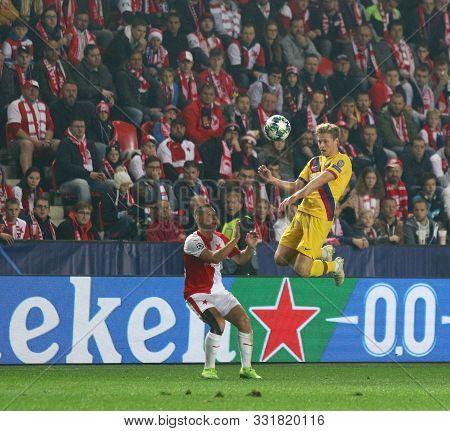 Prague, Czechia - October 23, 2019: Frenkie De Jong Of Barcelona (r) Fights For A Ball With Jan Bori