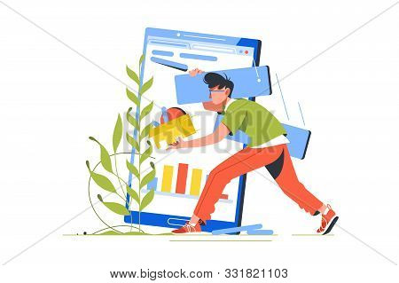 Breakage In Wireless Device And Programmer Character Vector Illustration. Male Coder Communication W