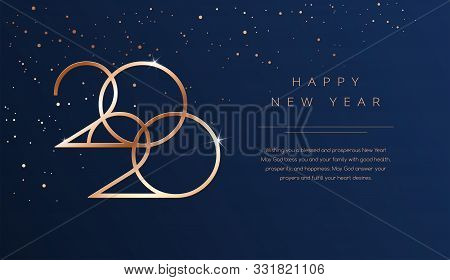 Luxury 2020 Happy New Year Background. Golden Design For Christmas And New Year 2020 Greeting Cards