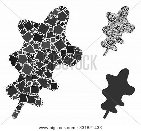 Oak Leaf Mosaic Of Raggy Pieces In Various Sizes And Color Tints, Based On Oak Leaf Icon. Vector Tre