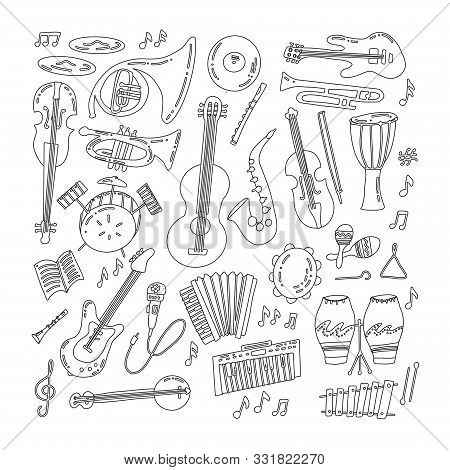 Hand Drawn Doodle Musical Instruments. Classical And Jazz Orchestra. Vector Illustration. Vector Bla