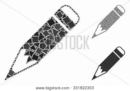 Pencil Mosaic Of Irregular Parts In Various Sizes And Shades, Based On Pencil Icon. Vector Humpy Par
