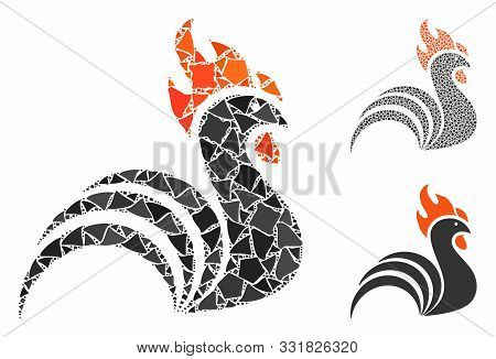 Rooster Mosaic Of Abrupt Parts In Variable Sizes And Color Hues, Based On Rooster Icon. Vector Abrup