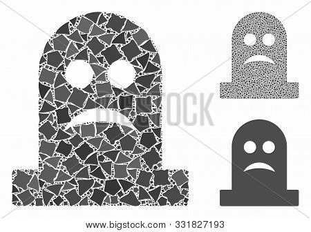Sad Tomb Composition Of Abrupt Pieces In Variable Sizes And Shades, Based On Sad Tomb Icon. Vector B