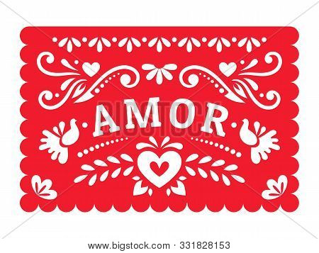 Papel Picado With Floral Design, Birds And Hearts For The Mexican Holiday. Fiesta Wedding Decoration