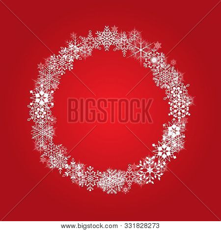 Christmas Frame With White Snowflakes On Red Background. Vector Festive Background.