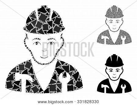 Serviceman Mosaic Of Unequal Items In Various Sizes And Shades, Based On Serviceman Icon. Vector Tub