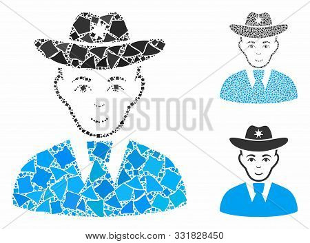 Sheriff Mosaic Of Irregular Pieces In Variable Sizes And Shades, Based On Sheriff Icon. Vector Tremu