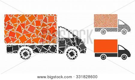 Shipment Car Mosaic Of Raggy Pieces In Various Sizes And Color Tones, Based On Shipment Car Icon. Ve