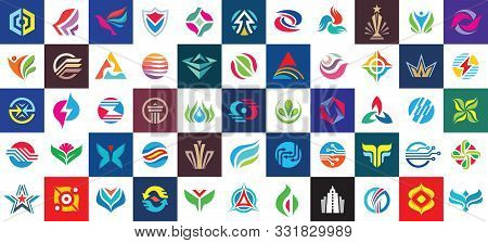 Logo Set Design. Abstract Business Modern Logo Icons Collection. Concept Logo Sign Big Collection. D