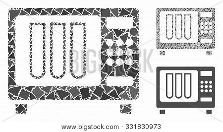 Sterilizer Mosaic Of Rugged Items In Various Sizes And Color Tones, Based On Sterilizer Icon. Vector