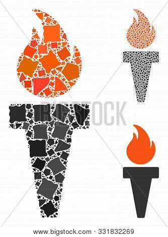 Torch Fire Composition Of Irregular Parts In Various Sizes And Color Tinges, Based On Torch Fire Ico