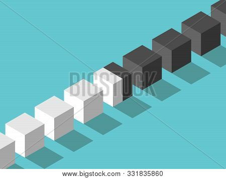 Isometric Intermediate Cube Between Many White, Black Ones. Cooperation, Diplomacy, Negotiation, Con