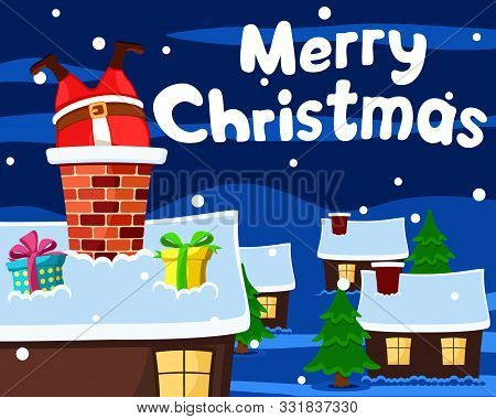 Santa Stuck In Chimney On Roof Of House, Christmas Background.