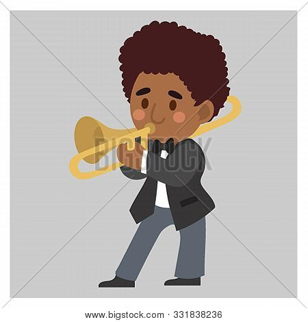 Jazz Musician, A Man  In Black Suit. Is Playing Trombone