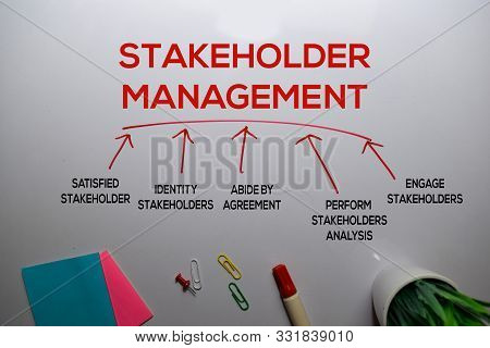 Stakeholder Management Method Text With Keywords Isolated On White Board Background. Chart Or Mechan
