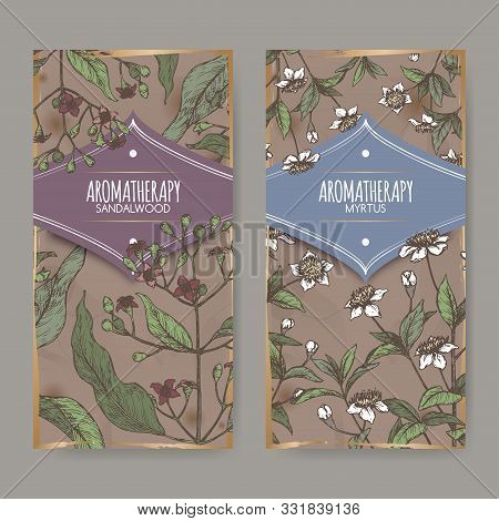 Two Labels With Common Myrtle Aka Myrtus Communis And Indian Sandalwood Aka Santalum Album Color Ske