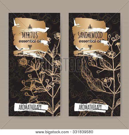 Two Labels With Common Myrtle Aka Myrtus Communis And Indian Sandalwood Aka Santalum Album Sketch On