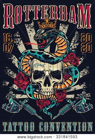 Vintage Tattoo Festival Colorful Poster With Snake In Royal Crown Entwined Around Skull Rose Flowers