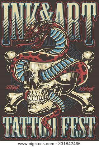Colorful Tattoo Festival Poster With Snake Entwined With Skull And Crossbones In Vintage Style Vecto