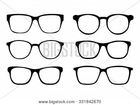 Glasses Icon. Set Of Six Modern Glasses Frames. Front View. Flat Vector.