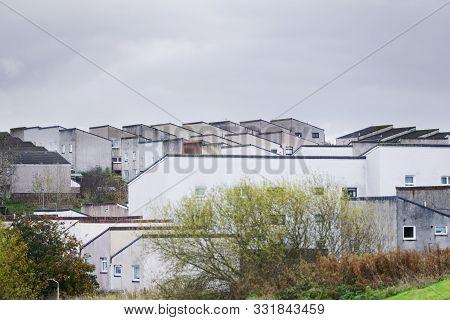 Derelict Council House Development In Poor Housing Crisis Ghetto Estate Slum In England Uk