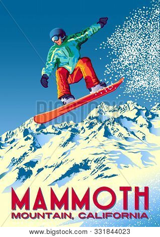 The Jump Of The Snowboarder From The Side Of A Mountain In The Mammoth Mountain, California.