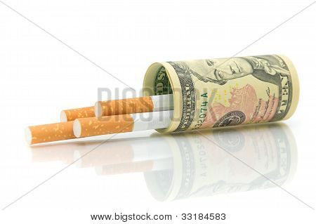 Cigarettes And Money Close-up