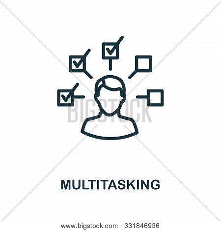 Multitasking Icon Outline Style. Thin Line Creative Multitasking Icon For Logo, Graphic Design And M