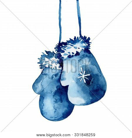 Watercolor Hand Painted Mitten Illustration In Blue Color. Wool Glove For Winter Season. New Year Ce