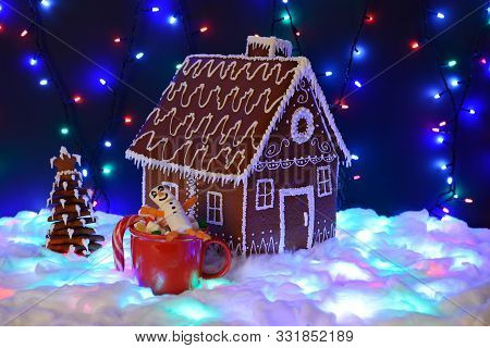 The Hand-made Eatable Gingerbread House, Marshmallow Snowman  In Mag,  New Year Tree, Snow Decoratio