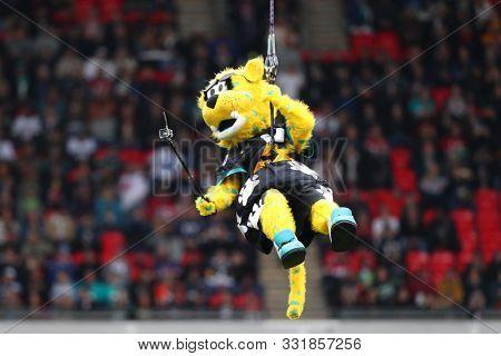 LONDON, ENGLAND - NOVEMBER 03 2019: Jaguars mascot during the NFL game between Houston Texans and Jacksonville Jaguars at Wembley Stadium