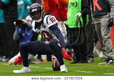 LONDON, ENGLAND - NOVEMBER 03 2019: Houston Texan's wide receiver, DeAndre Hopkins (10) during the NFL game between Houston Texans and Jacksonville Jaguars at Wembley Stadium