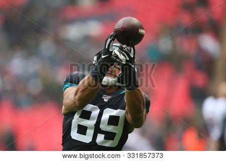 LONDON, ENGLAND - NOVEMBER 03 2019: Jacksonville Jaguars tight end, Josh Oliver (89) during the NFL game between Houston Texans and Jacksonville Jaguars at Wembley Stadium