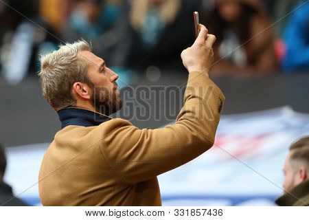 LONDON, ENGLAND - NOVEMBER 03 2019: Former England rugby caotain Chris Robshaw during the NFL game between Houston Texans and Jacksonville Jaguars at Wembley Stadium