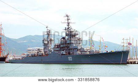 Novorossiysk, Russia - May, 2014: The cruiser Mikhail Kutuzov. Ship Museum.