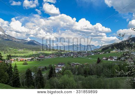Panorama From The Village Of Elmau -tirol Near The City Of Innsbruck With Green Sunny Austrian Alps
