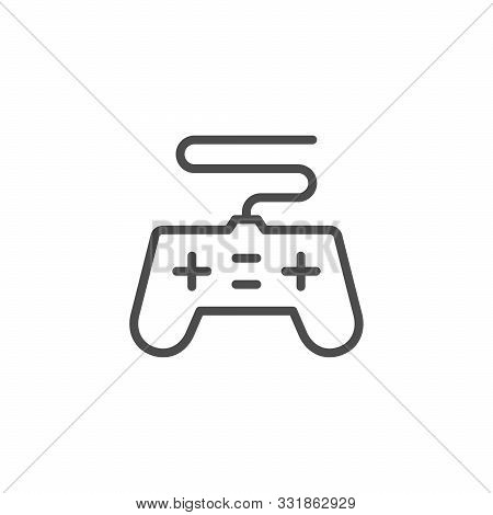 Gamepad Device Line Outline Icon Isolated On White. Electronic Joypad To Play Video Game. Gaming On