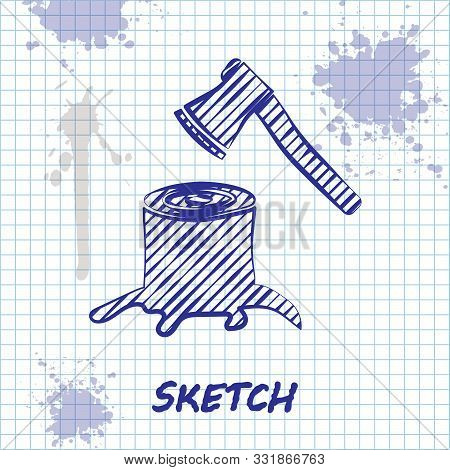 Sketch Line Wooden Axe In Stump Icon Isolated On White Background. Lumberjack Axe. Axe Stuck In Wood