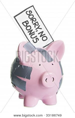 broken piggy bank with sorry no bonus label  isolated on white 2