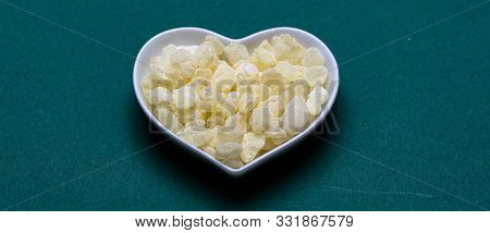Chios Mastic Tears Isolated On Green Background