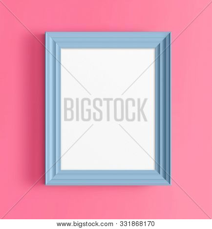 blue photo frame on pink wall